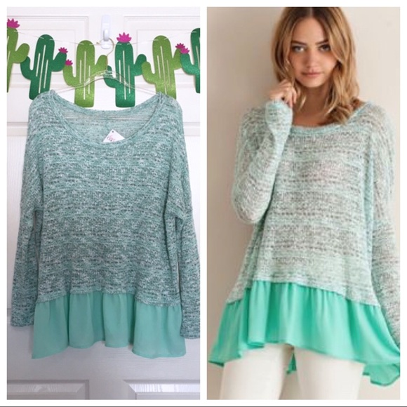 c6f8432d75f NWT Entro Mint Green Ruffle Hem Oversized Sweater